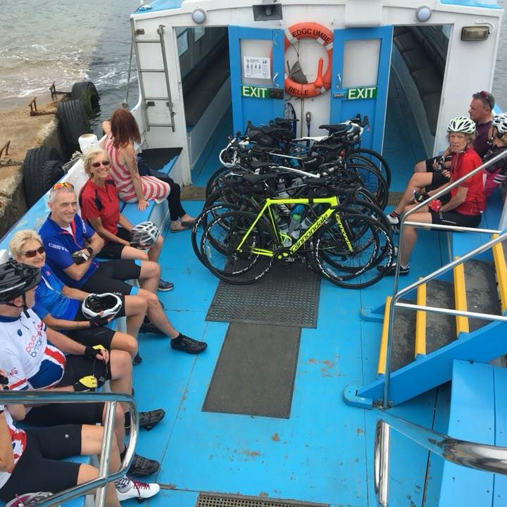LEJOG  - Riders on the Bodinnick Ferry
